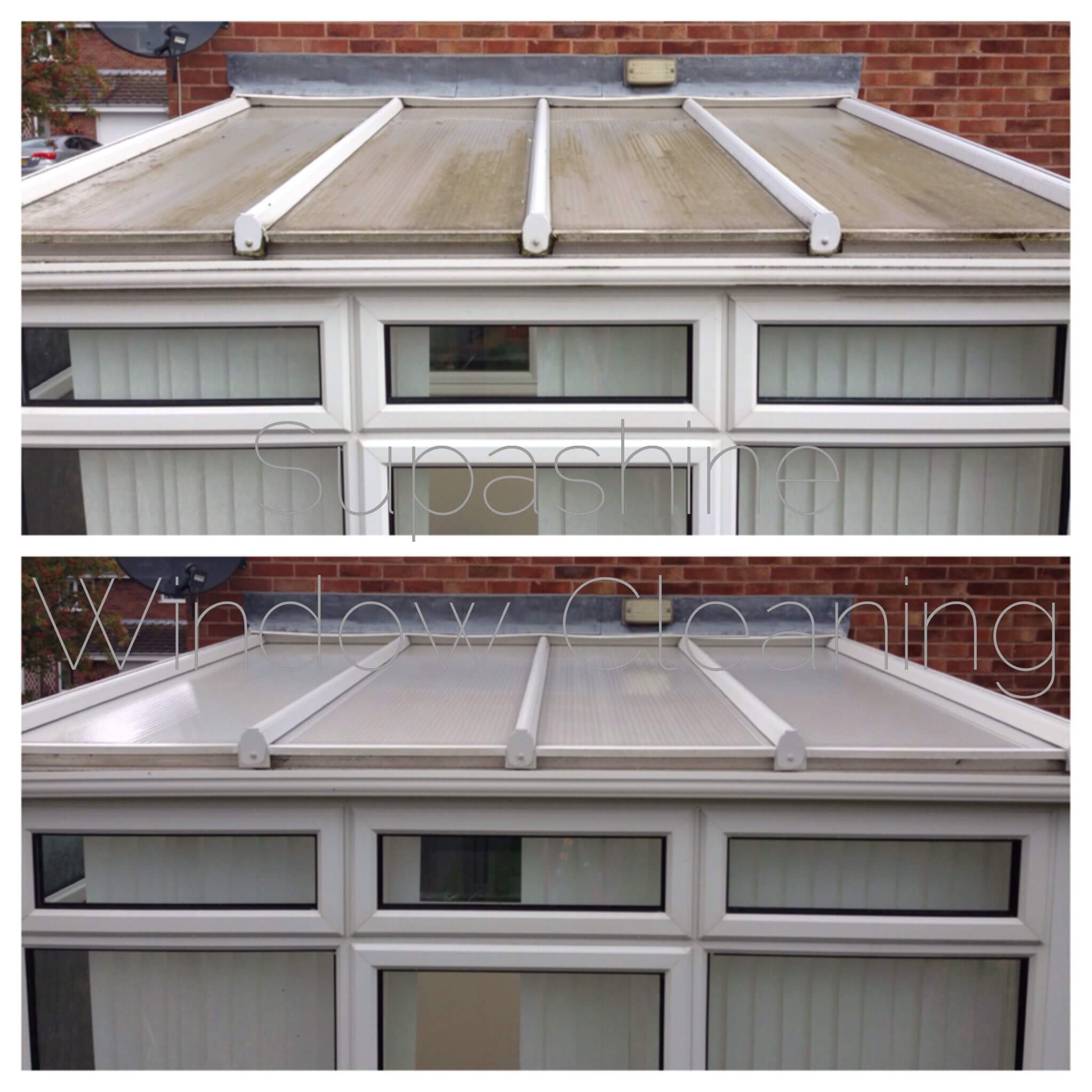 how to clean a window above a conservatory